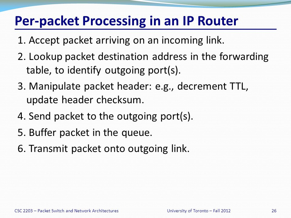 CSC 2203 – Packet Switch and Network Architectures26University of Toronto – Fall 2012 Per-packet Processing in an IP Router 1.