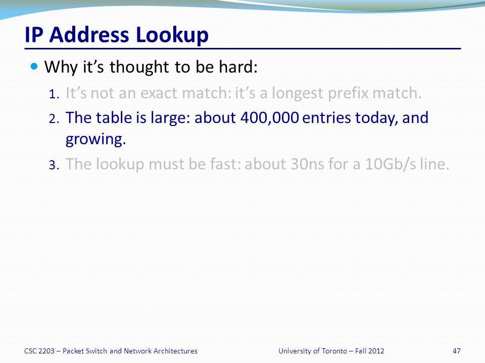 IP Address Lookup Why its thought to be hard: 1.