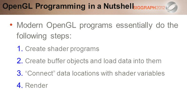 Modern OpenGL programs essentially do the following steps: 1.