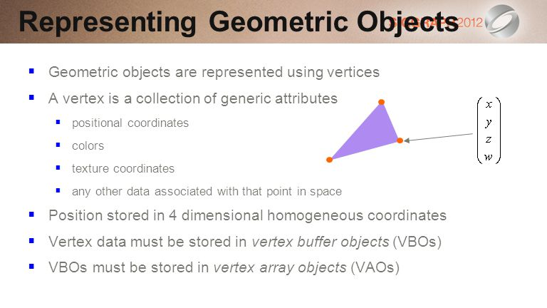 Geometric objects are represented using vertices A vertex is a collection of generic attributes positional coordinates colors texture coordinates any other data associated with that point in space Position stored in 4 dimensional homogeneous coordinates Vertex data must be stored in vertex buffer objects (VBOs) VBOs must be stored in vertex array objects (VAOs) Representing Geometric Objects