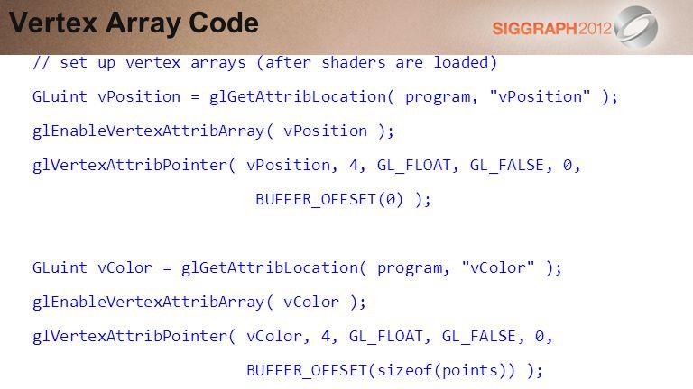 // set up vertex arrays (after shaders are loaded) GLuint vPosition = glGetAttribLocation( program, vPosition ); glEnableVertexAttribArray( vPosition ); glVertexAttribPointer( vPosition, 4, GL_FLOAT, GL_FALSE, 0, BUFFER_OFFSET(0) ); GLuint vColor = glGetAttribLocation( program, vColor ); glEnableVertexAttribArray( vColor ); glVertexAttribPointer( vColor, 4, GL_FLOAT, GL_FALSE, 0, BUFFER_OFFSET(sizeof(points)) ); Vertex Array Code