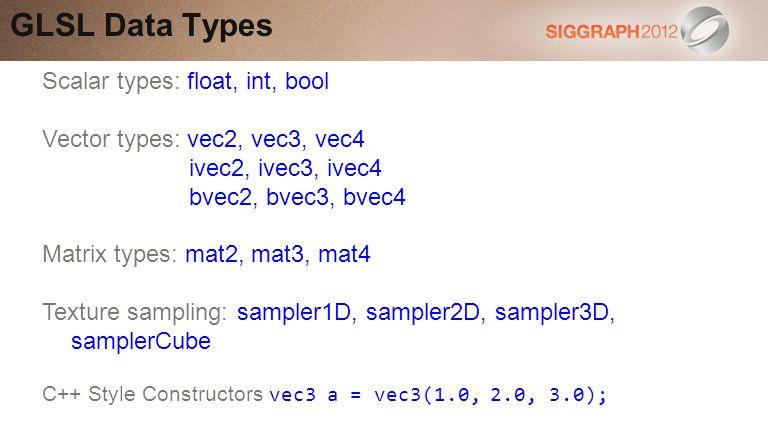 Scalar types: float, int, bool Vector types: vec2, vec3, vec4 ivec2, ivec3, ivec4 bvec2, bvec3, bvec4 Matrix types: mat2, mat3, mat4 Texture sampling: sampler1D, sampler2D, sampler3D, samplerCube GLSL Data Types C++ Style Constructors vec3 a = vec3(1.0, 2.0, 3.0);
