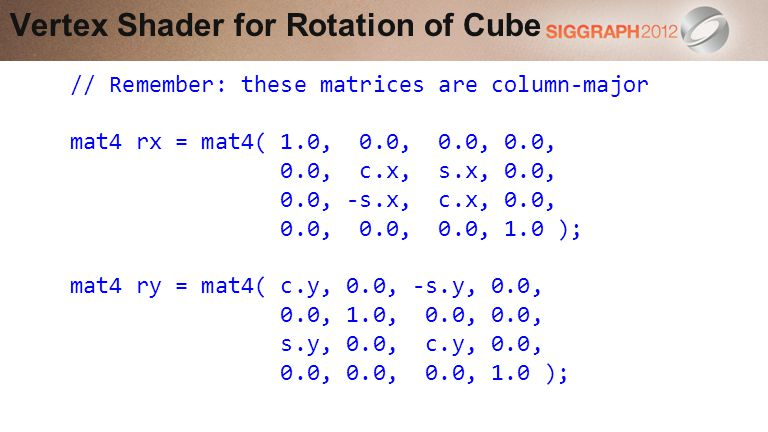 Vertex Shader for Rotation of Cube // Remember: these matrices are column-major mat4 rx = mat4( 1.0, 0.0, 0.0, 0.0, 0.0, c.x, s.x, 0.0, 0.0, -s.x, c.x, 0.0, 0.0, 0.0, 0.0, 1.0 ); mat4 ry = mat4( c.y, 0.0, -s.y, 0.0, 0.0, 1.0, 0.0, 0.0, s.y, 0.0, c.y, 0.0, 0.0, 0.0, 0.0, 1.0 );