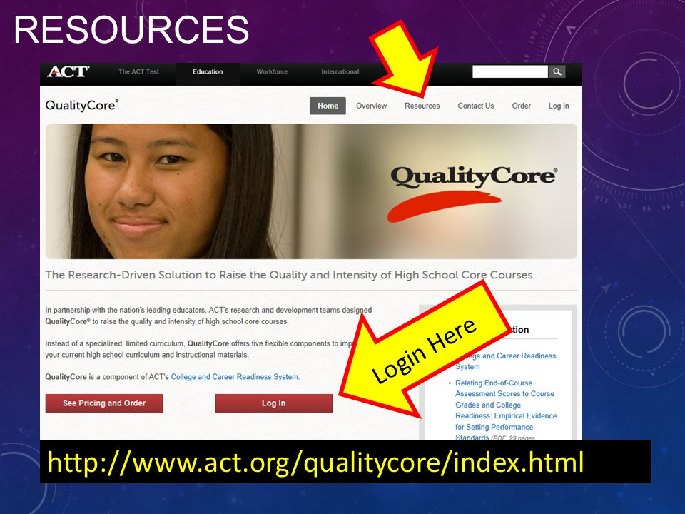 RESOURCES http://www.act.org/qualitycore/index.html Login Here