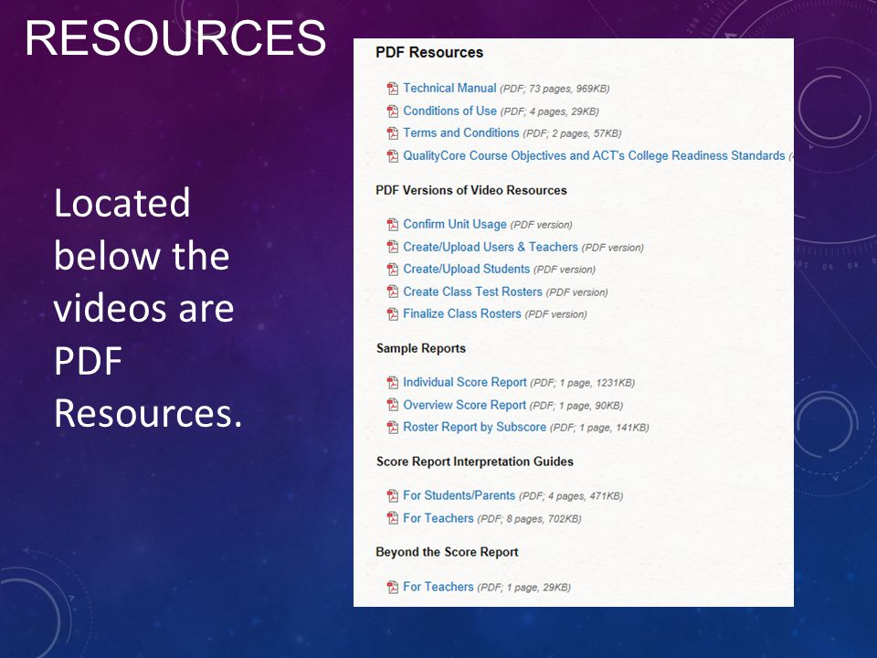 RESOURCES Located below the videos are PDF Resources.