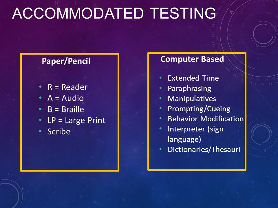 ACCOMMODATED TESTING R = Reader A = Audio B = Braille LP = Large Print Scribe Extended Time Paraphrasing Manipulatives Prompting/Cueing Behavior Modification Interpreter (sign language) Dictionaries/Thesauri Paper/Pencil Computer Based