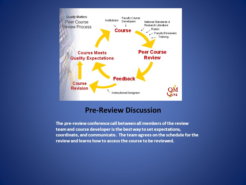 Individual Reviewers Complete Reviews (online) Individual reviewers use the web-based rubric/review tool to make decisions whether this course meets standards at the 85+% level.