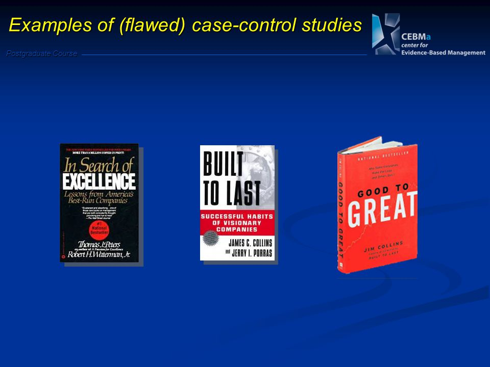 Postgraduate Course Examples of (flawed) case-control studies