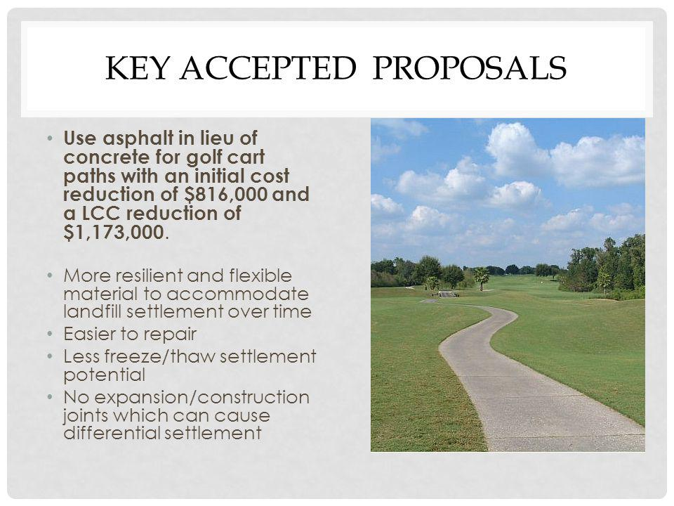 KEY ACCEPTED PROPOSALS Use asphalt in lieu of concrete for golf cart paths with an initial cost reduction of $816,000 and a LCC reduction of $1,173,000.