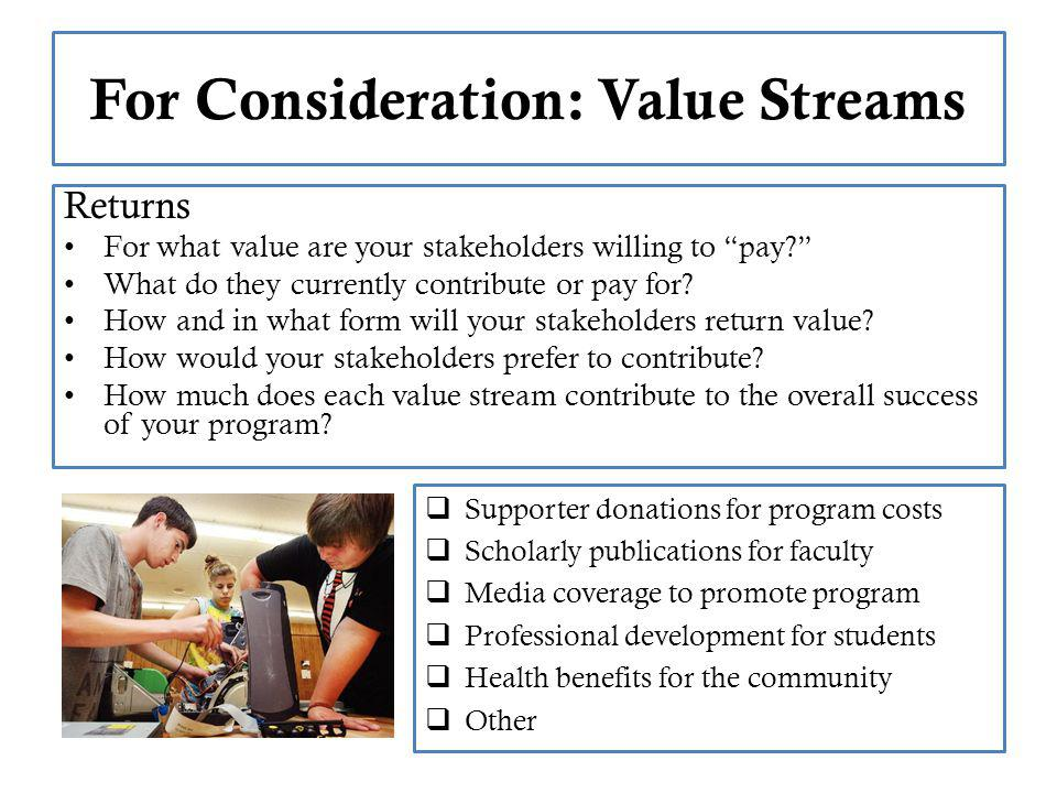 For Consideration: Value Streams Returns For what value are your stakeholders willing to pay.