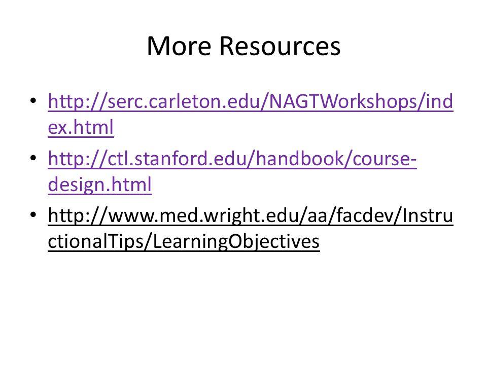 More Resources http://serc.carleton.edu/NAGTWorkshops/ind ex.html http://serc.carleton.edu/NAGTWorkshops/ind ex.html http://ctl.stanford.edu/handbook/