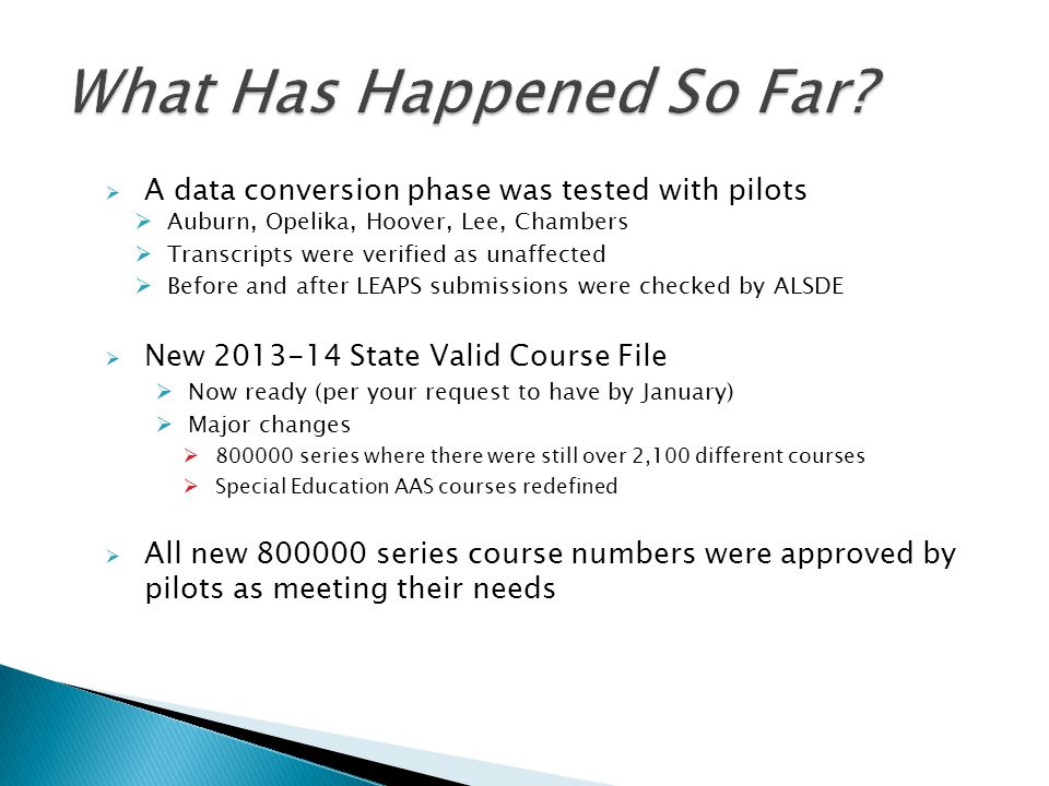 A data conversion phase was tested with pilots Auburn, Opelika, Hoover, Lee, Chambers Transcripts were verified as unaffected Before and after LEAPS s