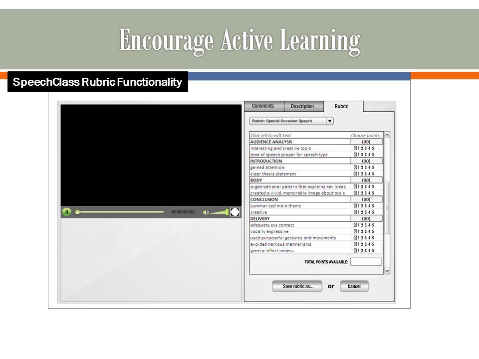 SpeechClass Rubric Functionality