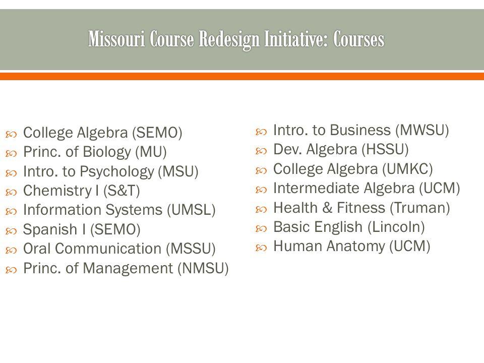 College Algebra (SEMO) Princ. of Biology (MU) Intro. to Psychology (MSU) Chemistry I (S&T) Information Systems (UMSL) Spanish I (SEMO) Oral Communicat