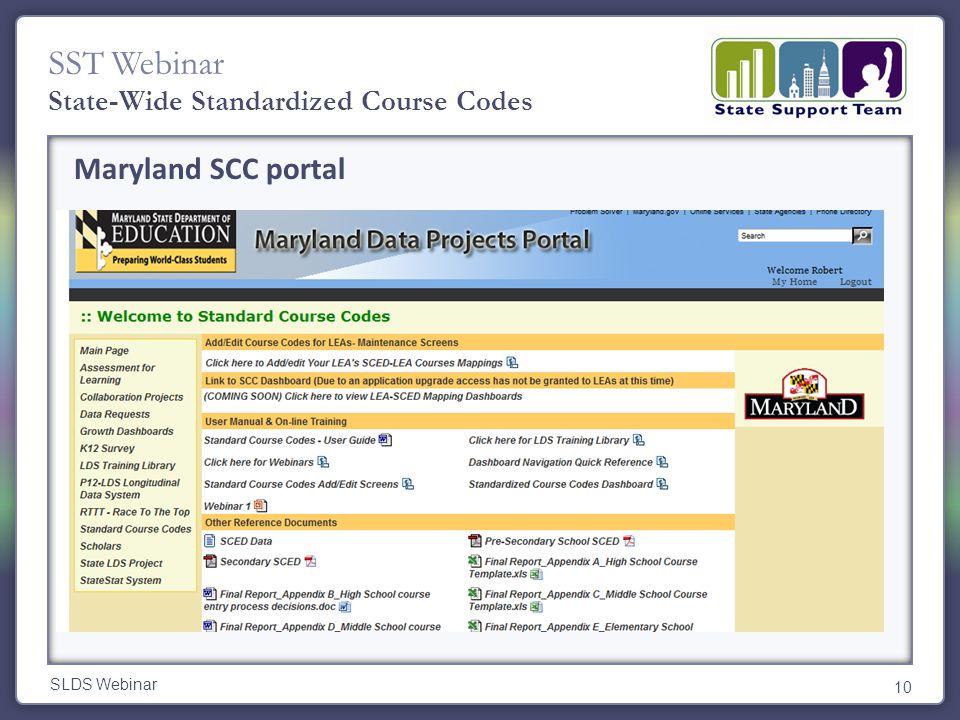 SST Webinar SLDS Webinar 10 State-Wide Standardized Course Codes Maryland SCC portal