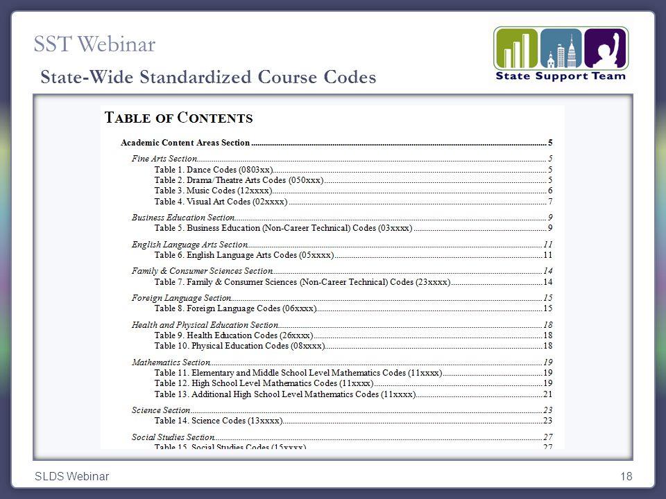 SST Webinar SLDS Webinar18 State-Wide Standardized Course Codes