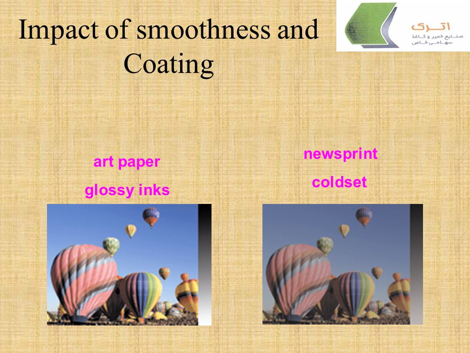 Paper Properties and their relation to Printing Smoothness/Roughness –Determines the ink transfer and dot reproduction on the surface –Final Print glo