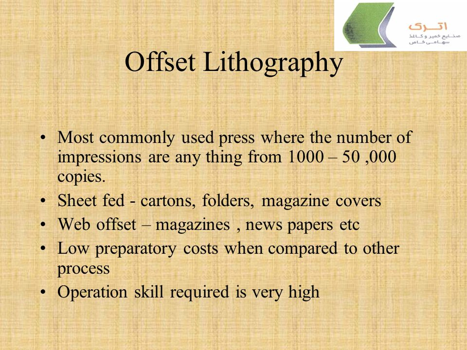 Offset Lithography It is a plano graphic process Uses the principle of oil and water do not mix The image and the non image are in the same plane. The