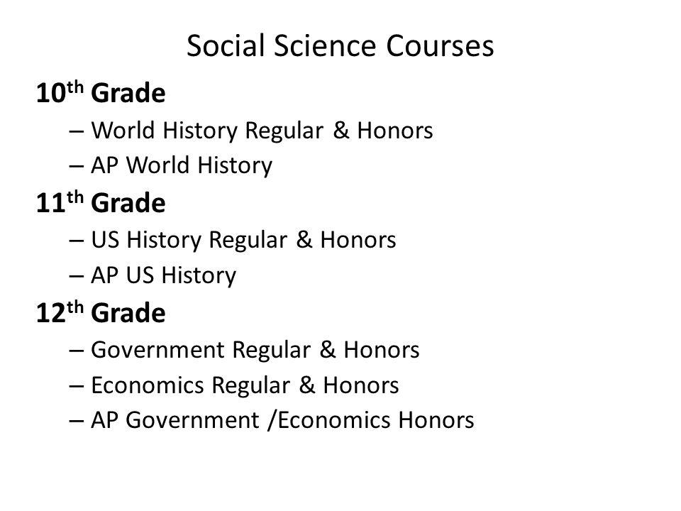 Social Science Courses 10 th Grade – World History Regular & Honors – AP World History 11 th Grade – US History Regular & Honors – AP US History 12 th Grade – Government Regular & Honors – Economics Regular & Honors – AP Government /Economics Honors