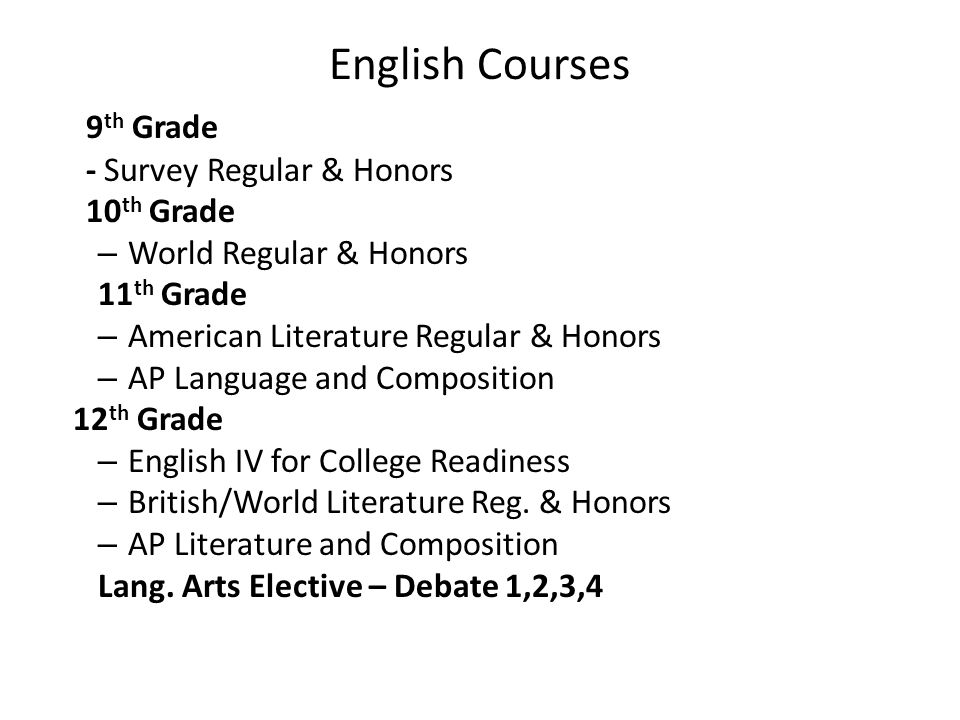 English Courses 9 th Grade - Survey Regular & Honors 10 th Grade – World Regular & Honors 11 th Grade – American Literature Regular & Honors – AP Language and Composition 12 th Grade – English IV for College Readiness – British/World Literature Reg.