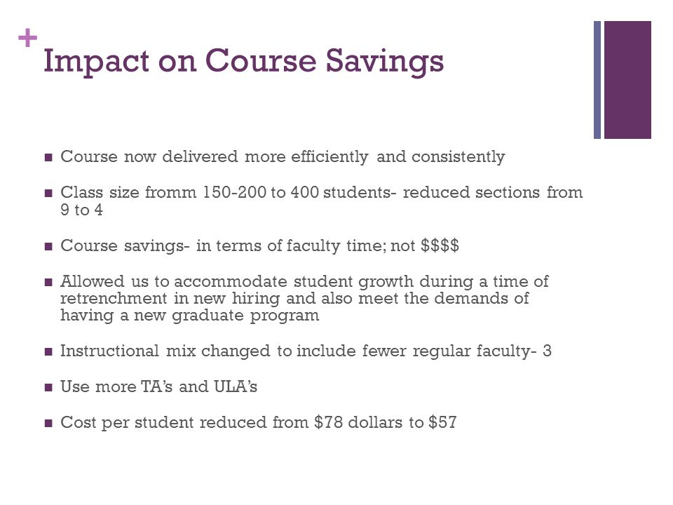 + Impact on Course Savings Course now delivered more efficiently and consistently Class size fromm 150-200 to 400 students- reduced sections from 9 to