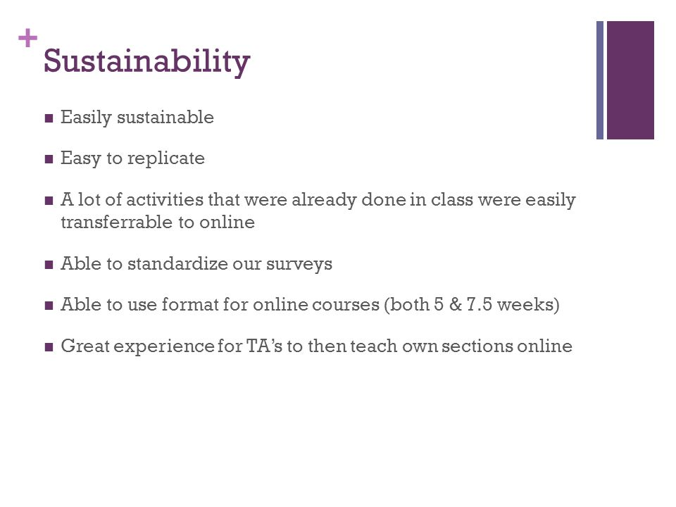 + Sustainability Easily sustainable Easy to replicate A lot of activities that were already done in class were easily transferrable to online Able to