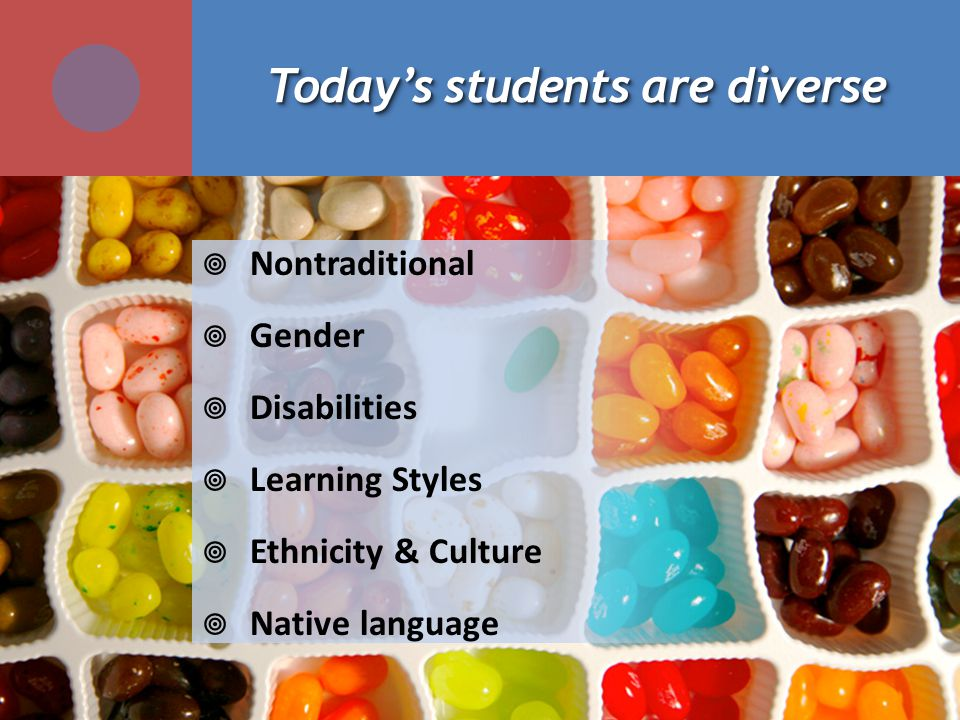 Todays students are diverse Nontraditional Gender Disabilities Learning Styles Ethnicity & Culture Native language