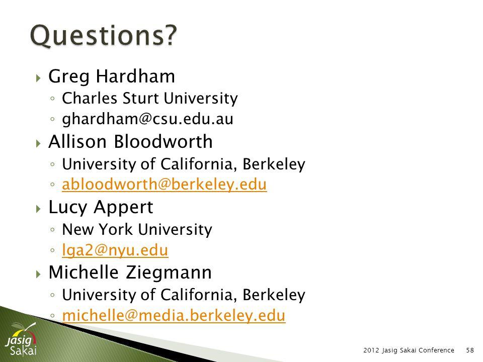 Greg Hardham Charles Sturt University ghardham@csu.edu.au Allison Bloodworth University of California, Berkeley abloodworth@berkeley.edu Lucy Appert N