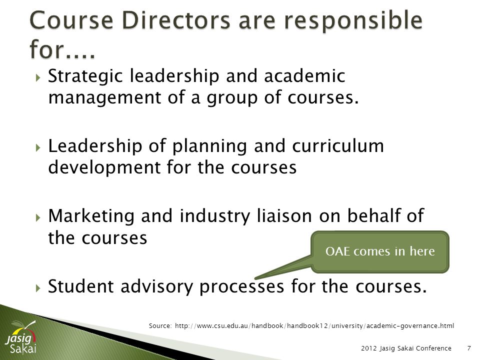 Strategic leadership and academic management of a group of courses.