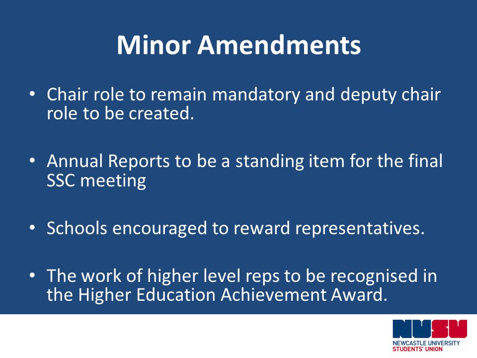 Minor Amendments Chair role to remain mandatory and deputy chair role to be created.