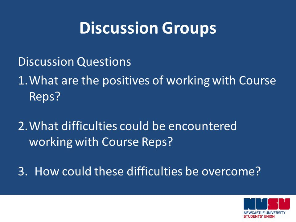 Discussion Groups Discussion Questions 1.What are the positives of working with Course Reps.