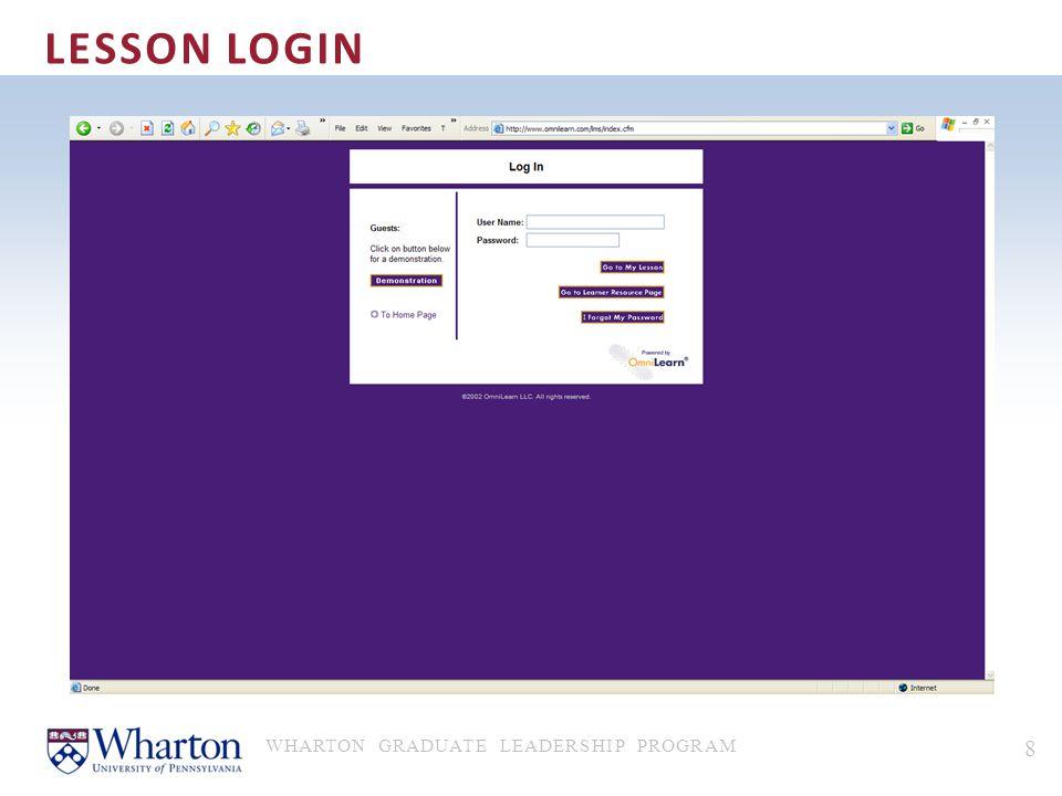 LESSON LOGIN WHARTON GRADUATE LEADERSHIP PROGRAM 8