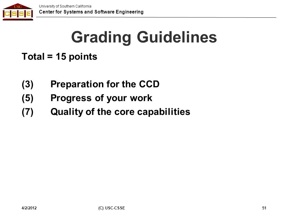 University of Southern California Center for Systems and Software Engineering Grading Guidelines Total = 15 points (3) Preparation for the CCD (5) Pro