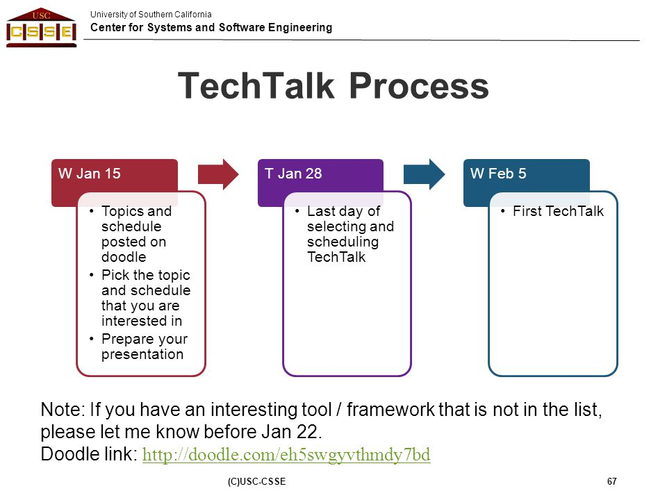 University of Southern California Center for Systems and Software Engineering TechTalk Process W Jan 15 Topics and schedule posted on doodle Pick the