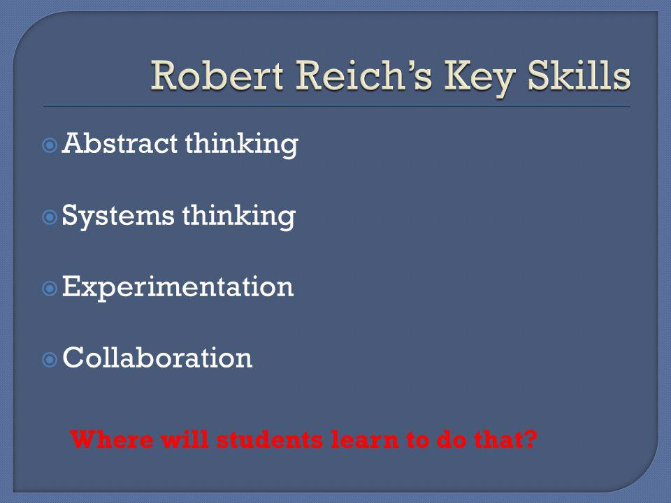 Abstract thinking Systems thinking Experimentation Collaboration Where will students learn to do that?