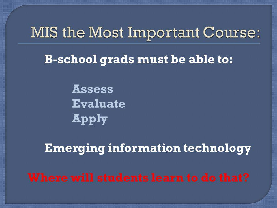 B-school grads must be able to: Assess Evaluate Apply Emerging information technology Where will students learn to do that?