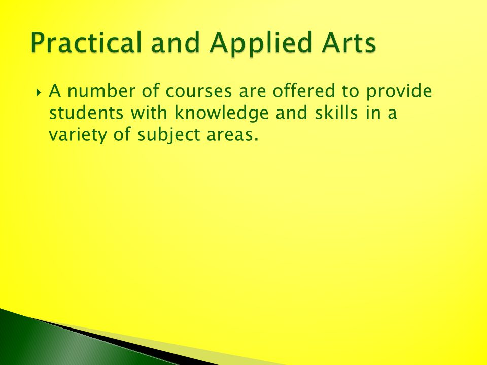 A number of courses are offered to provide students with knowledge and skills in a variety of subject areas.