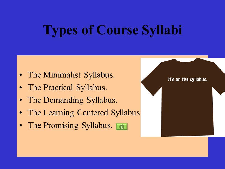 Types of Course Syllabi The Minimalist Syllabus. The Practical Syllabus.
