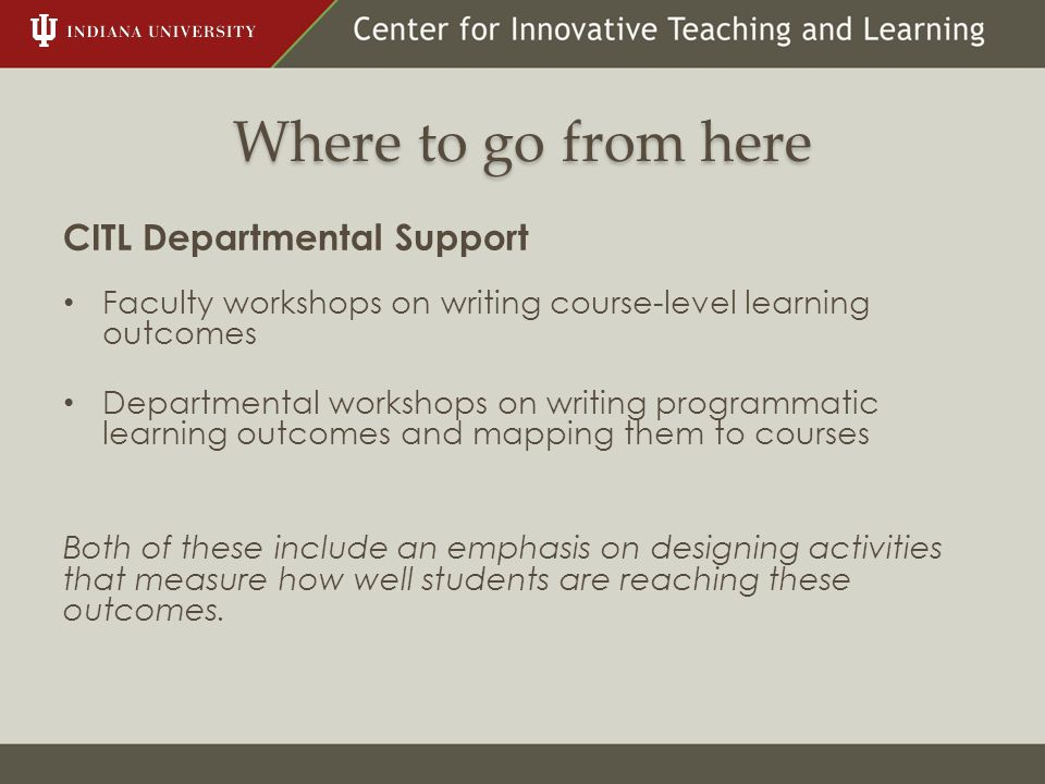 Where to go from here CITL Departmental Support Faculty workshops on writing course-level learning outcomes Departmental workshops on writing programm