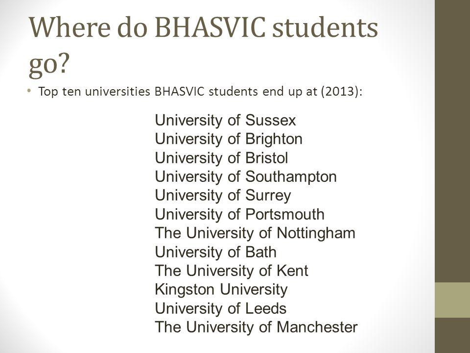 Where do BHASVIC students go? Top ten universities BHASVIC students end up at (2013): University of Sussex University of Brighton University of Bristo