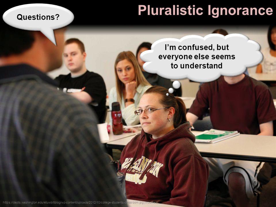 Pluralistic Ignorance https://depts.washington.edu/etuwb/ltblog/wp-content/uploads/2012/10/college-students-classroom.jpg (modified) Questions.