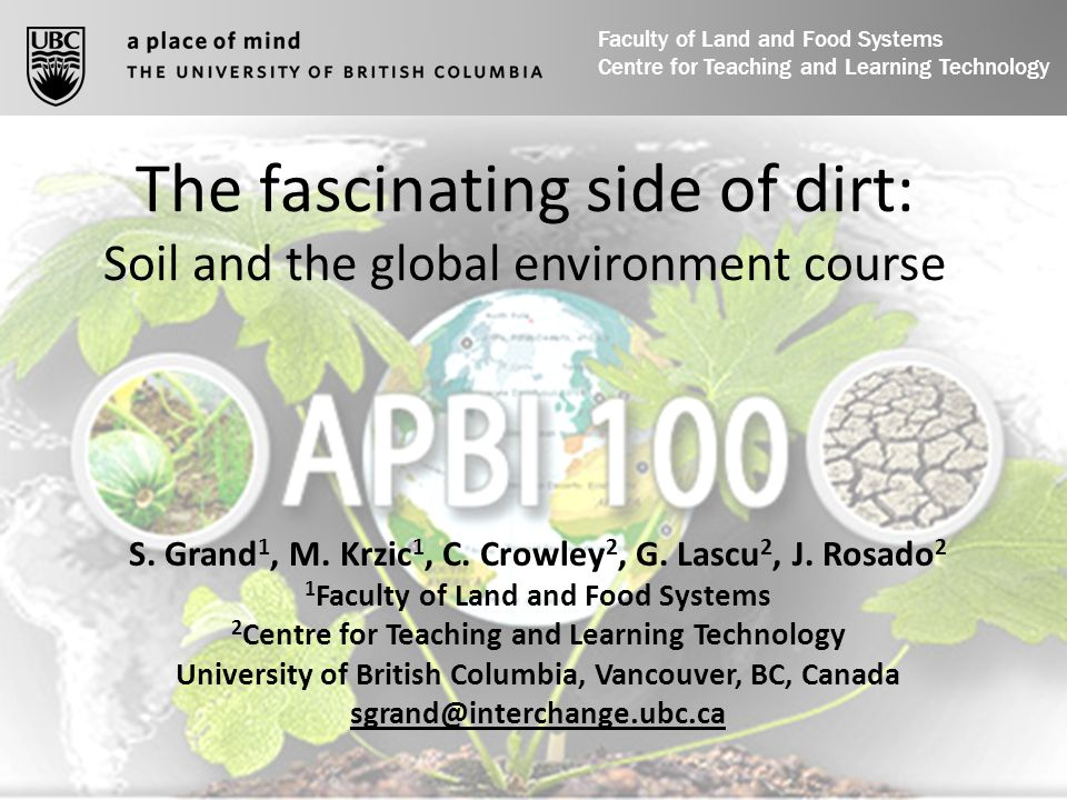 The fascinating side of dirt: Soil and the global environment course S.