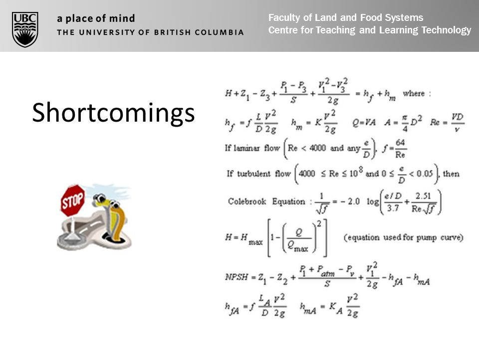 Shortcomings Faculty of Land and Food Systems Centre for Teaching and Learning Technology