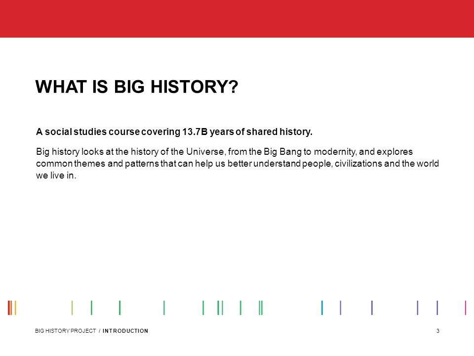 3BIG HISTORY PROJECT / INTRODUCTION WHAT IS BIG HISTORY.