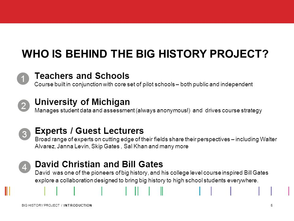 5BIG HISTORY PROJECT / INTRODUCTION WHO IS BEHIND THE BIG HISTORY PROJECT.