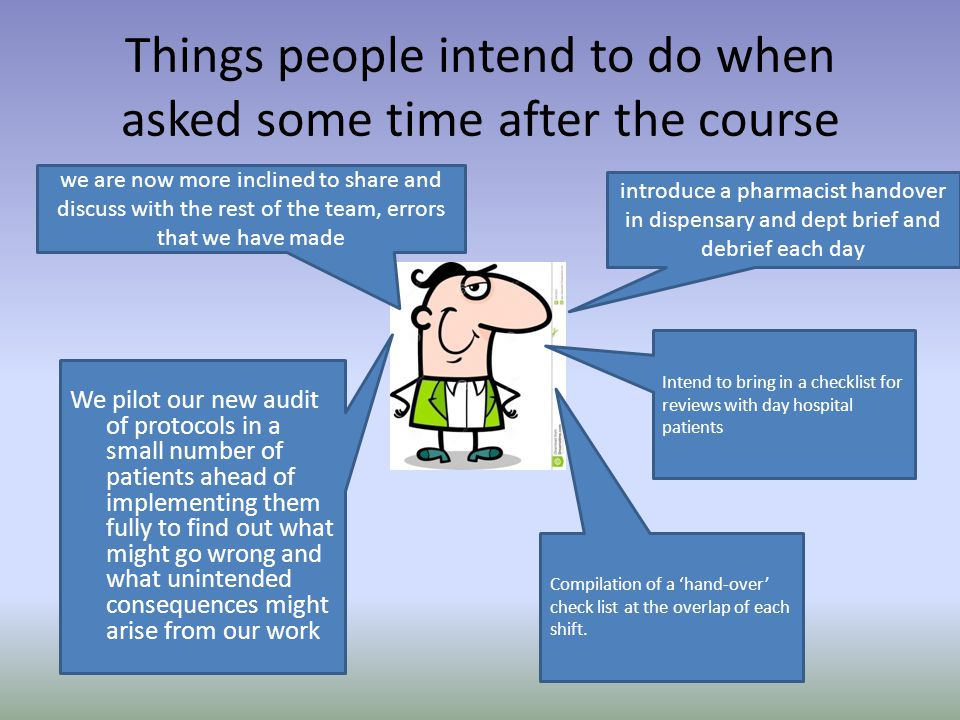 Things people intend to do when asked some time after the course we are now more inclined to share and discuss with the rest of the team, errors that