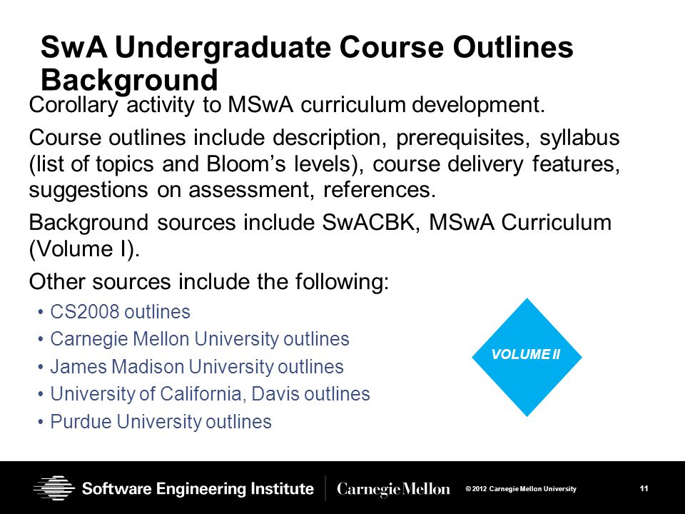 11 © 2012 Carnegie Mellon University SwA Undergraduate Course Outlines Background Corollary activity to MSwA curriculum development.