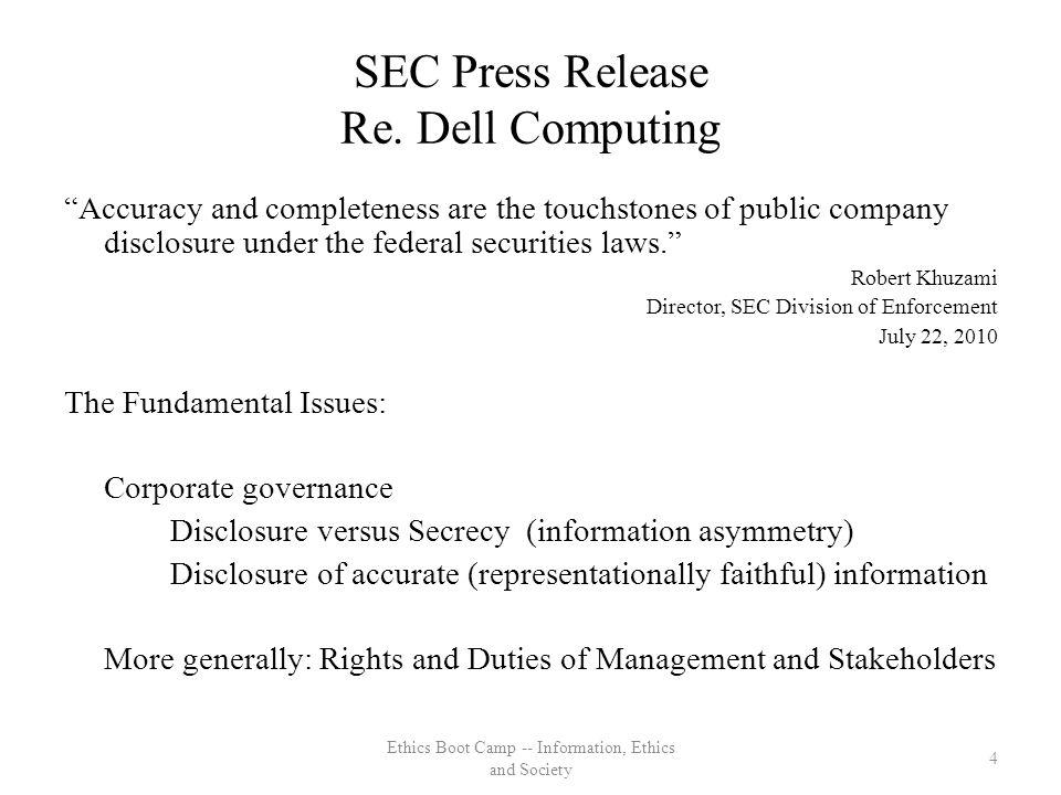 SEC Press Release Re.