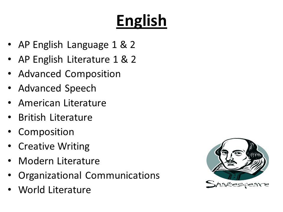 English AP English Language 1 & 2 AP English Literature 1 & 2 Advanced Composition Advanced Speech American Literature British Literature Composition