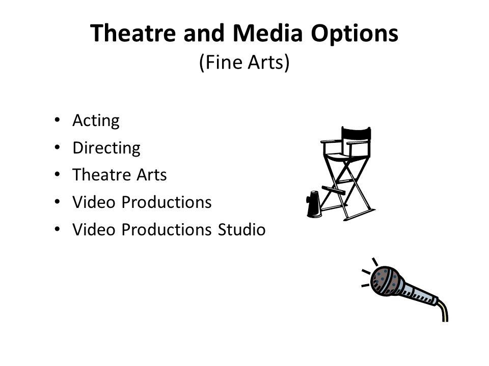 Theatre and Media Options (Fine Arts) Acting Directing Theatre Arts Video Productions Video Productions Studio